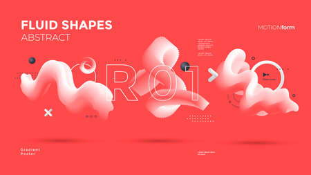 3d wave shapes on red background isolated.