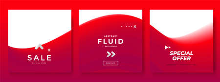 Minimal square banner with red color wave.