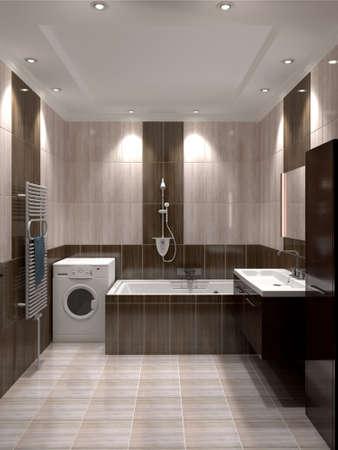 3D render modern interior of bathroom photo