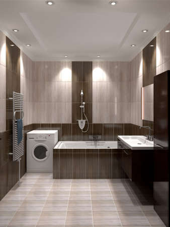 ceramic: 3D render modern interior of bathroom Stock Photo