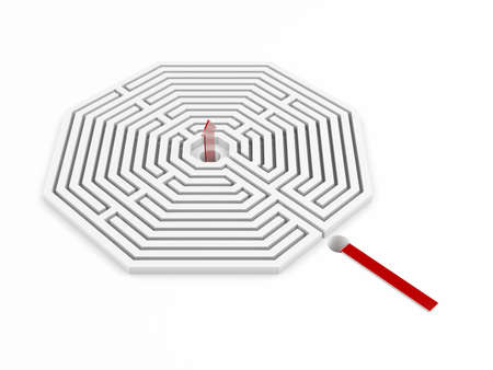 across: Isolated maze with red arrow shows alternative solution