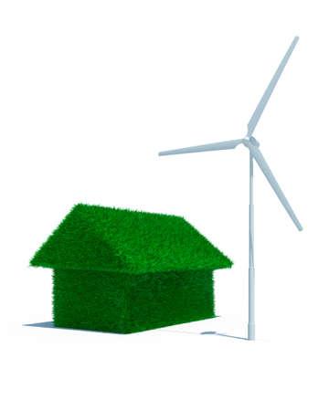 energia eolica: 3D de hierba verde de casa con energ�a e�lica  Foto de archivo