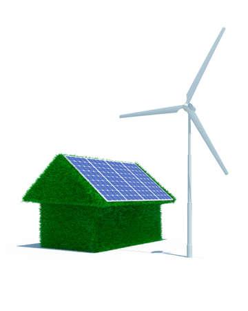 turbina: 3D de hierba verde de casa con energ�a e�lica y solar panel Foto de archivo