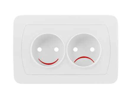 Concept of emotional outlet with smile and sad photo