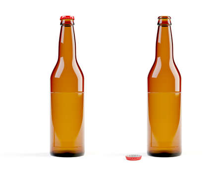 3d models of beer bottles on white background Stock Photo - 6893508