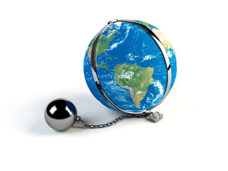 Concept of Earth in chains on white background photo