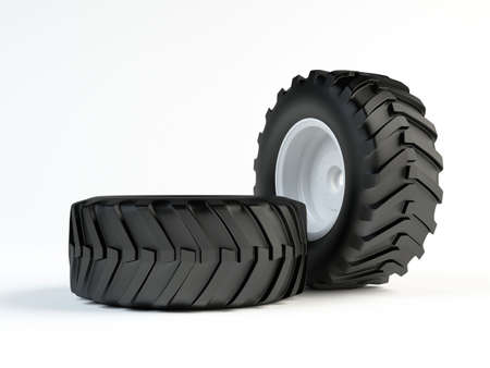 Isolated 3d tractor tyres