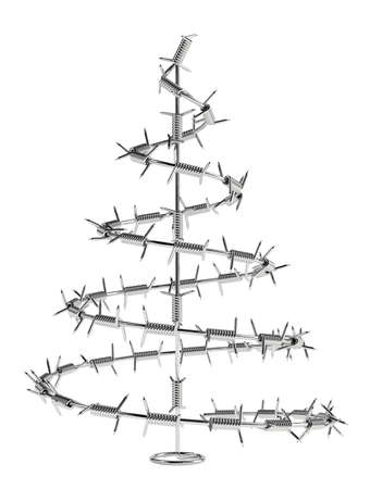 conscious: Concept of 3d render barbed wire tree