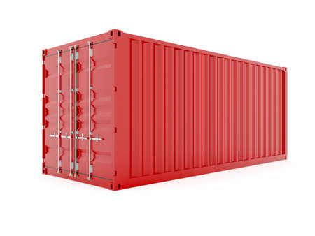 cargo container: 3d render of red cargo container on white Stock Photo