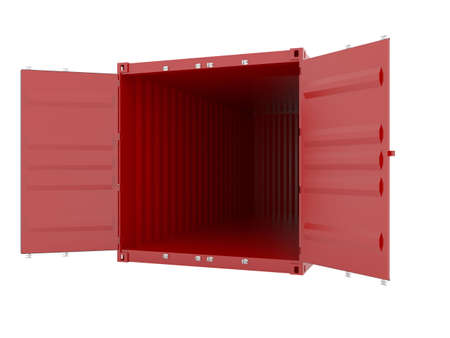 seafreight: 3d render of red empty cargo container