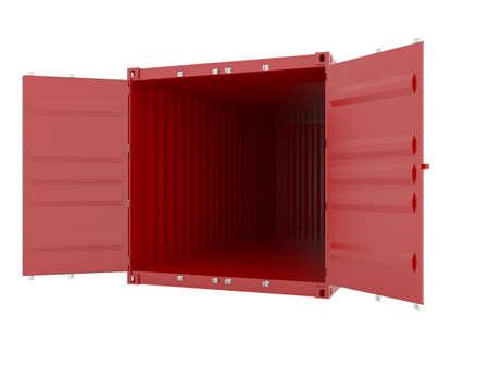 seafreight: procesamiento 3D de contenedor de carga vac�o rojo  Foto de archivo
