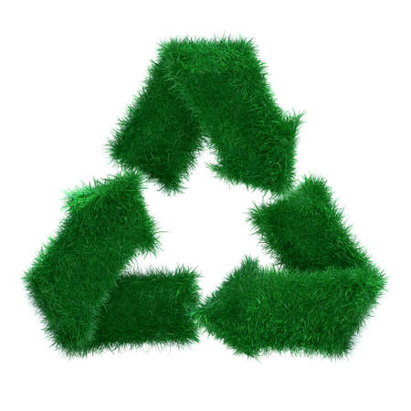 energy work: 3d grass recycle arrows isolated on white background Stock Photo
