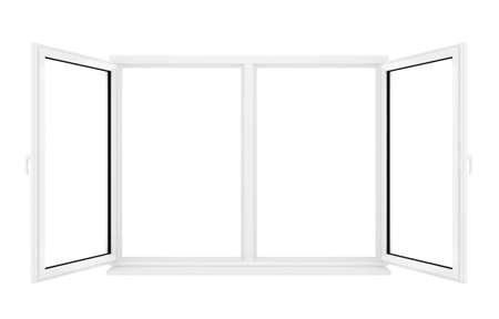 3d opened plastic window on white background  photo