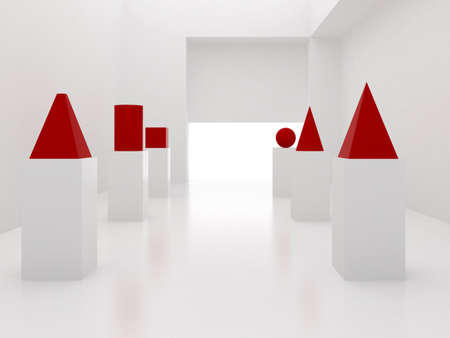 3d render of empty interior with red primitives Stock Photo - 7696568