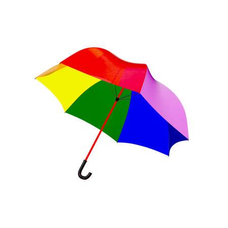 3d rainbow umbrella isolated on white photo