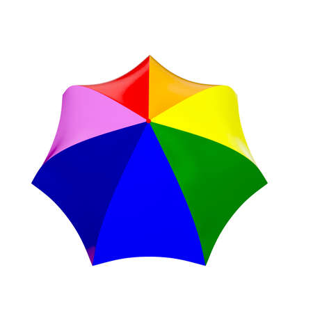 rainbow umbrella: 3d rainbow umbrella isolated on white