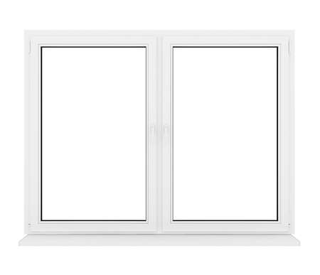 3d closed plastic window on white background  photo