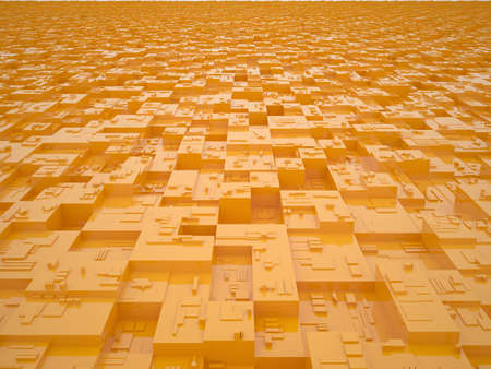 3d render of orange abstract city photo