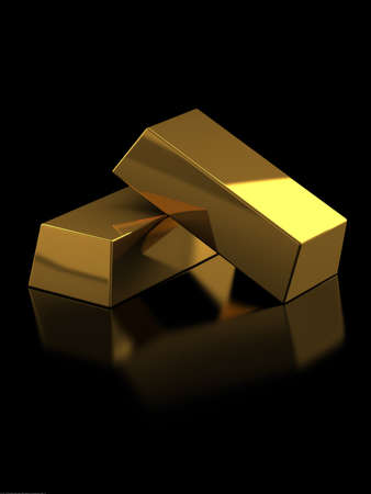 3d render of gold bars on black background photo
