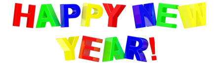 3d Happy New Year text on white background Stock Photo - 7750438