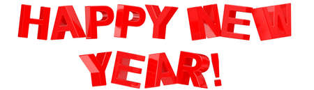 3d Happy New Year text on white background Stock Photo - 7750440