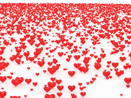 A lot of 3d hearts on white background photo