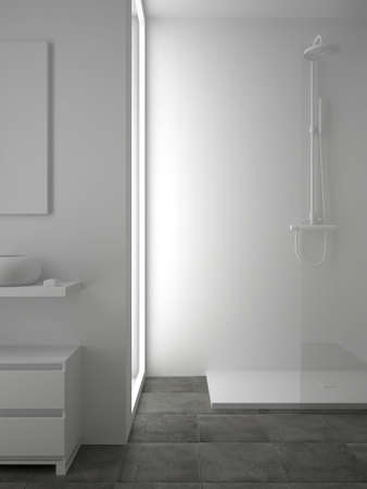 3d render of white bathroom with tile on floor photo