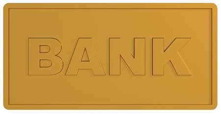 publicidad exterior: procesamiento 3D de placa de oro Banco sobre fondo blanco  Foto de archivo