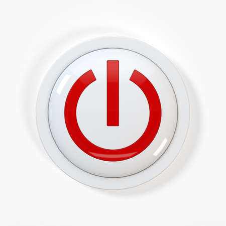 power button: 3d render of beautiful power button on white background