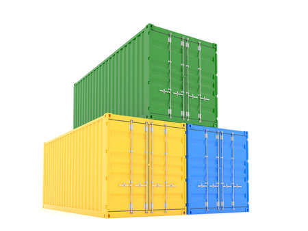 seafreight: 3d render of color cargo containers on white background