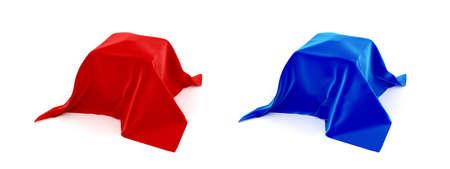 silk cloth: Casella coperti da sopra un panno di seta rosso e blu  Archivio Fotografico