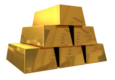 3d render of gold bars on white background photo