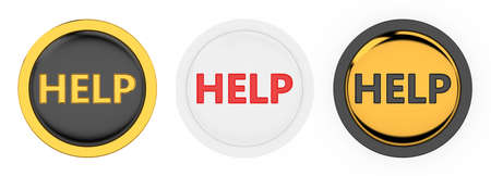 3d render of three beautiful help buttons on white background  Stock Photo - 8503818