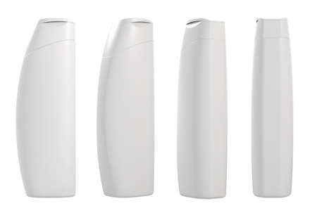 shampoo bottles: 3d render of different views white container templates