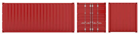 seafreight: 3d render of red cargo container sides on white