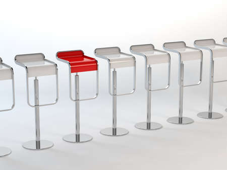 3D rendering of a white chairs and a red one  photo