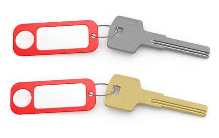 3d render of door keys with blank key tag photo