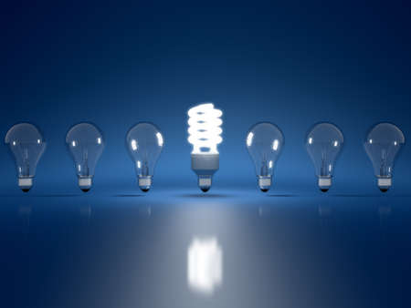 High Resolution 3d render of light bulb clipart on dark blue background
