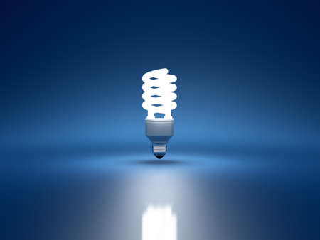 electric blue: 3d render of fluorescent bulb on blue background Stock Photo
