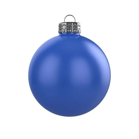 3d render of shiny blue xmas bauble on white background Stock Photo - 8381092