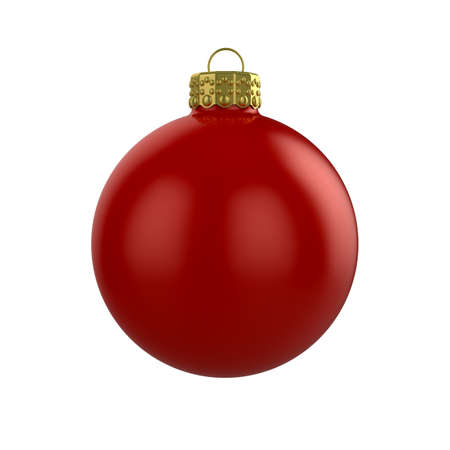 3d render of shiny red xmas bauble on white background photo