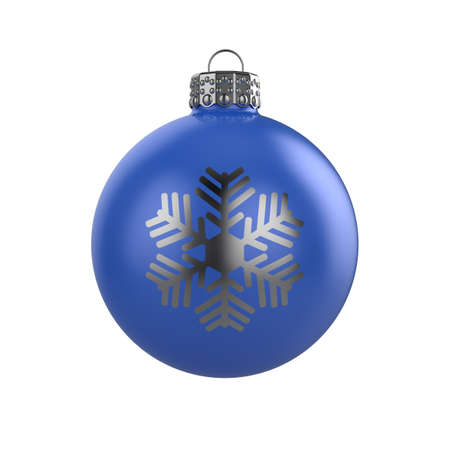 3d render of shiny blue xmas bauble with snowflake on white background Stock Photo - 8381088
