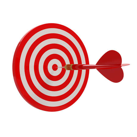 3d render of target and darts on white background photo