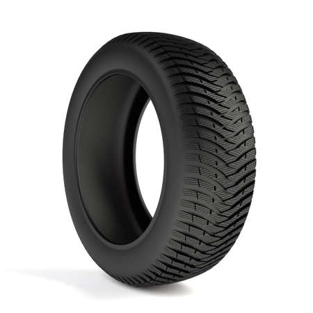 3d render of high detaled winter tyre isolated on white background  photo