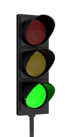 danger ahead: 3d rendering traffic light on white background