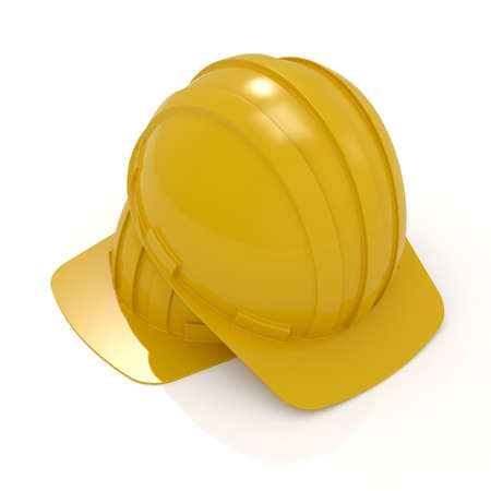 3d render yellow hard hats isolated on white  Stock Photo - 8503843