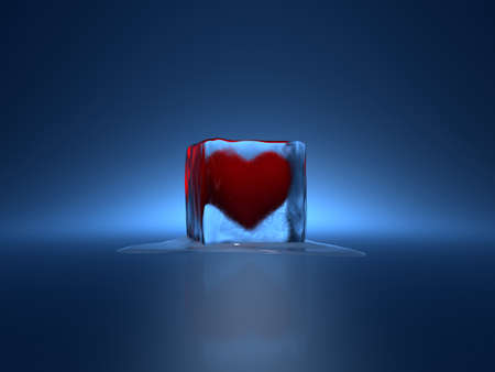 3d render of red heart in ice cube on blue background photo
