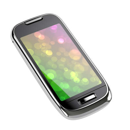 wireless telephone: 3d render of smart phone with clipping path on white background Stock Photo