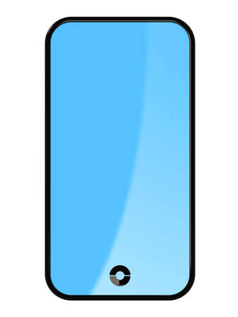 3d render of cell touch phone on white background photo