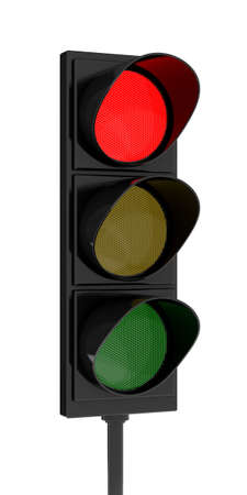 onward: 3d rendering traffic light on white background